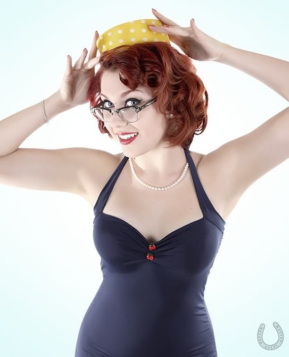 Navy with Cherries One Piece retro Pin Up Maillot Swimsuit
