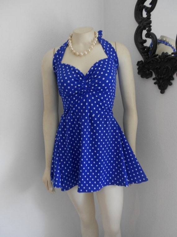Blue and White Polka dot Retro One Piece Swimdress swimsuit Maillot Pin Up Made to Order