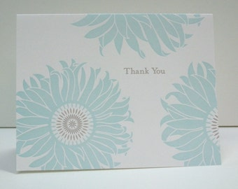 Letterpress Sunflower Thank You Notecards