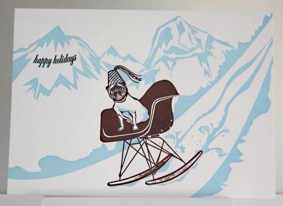 Letterpress Pug Holiday Cards