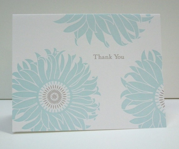 Letterpress Sunflower Thank You Notecards