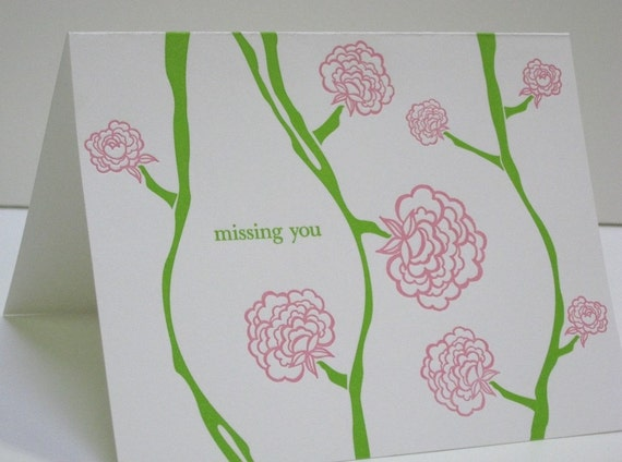 Letterpress Missing You Notecards