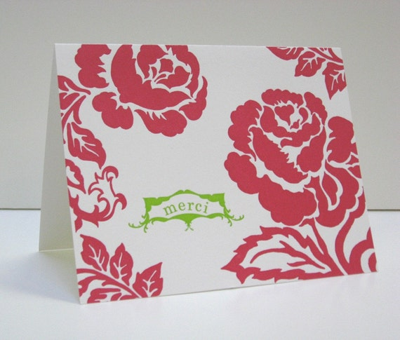 Letterpress Roses Thank You Note Sets