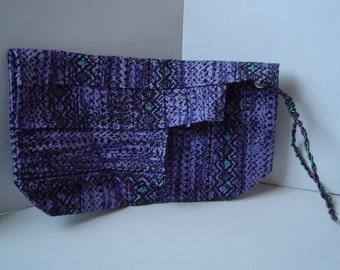 Beaded Handle Purple Wristlet Purse