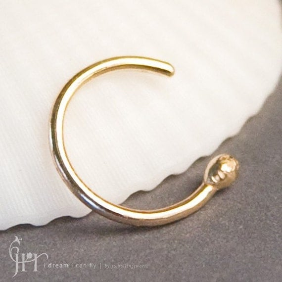 9mm 20g 14k gold open nose ring nose hoop in 20
