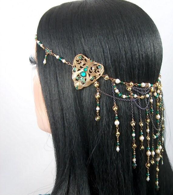 Edalene - Elven Queen Bridal Ivory Pearl Emerald Golden Renaissance Circlet/Headpiece
