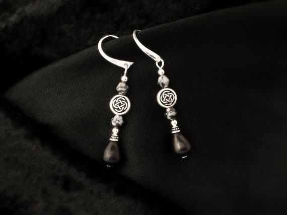 Darkness - Celtic Pewter Blackstone and Snowflake Obsidian Earrings