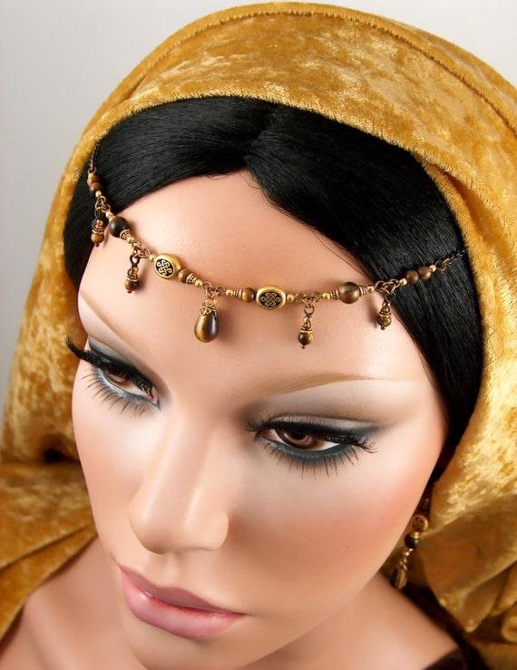 Bree - Celtic Golden Tiger's Eye Woodland Renaissance Circlet and Earring Set