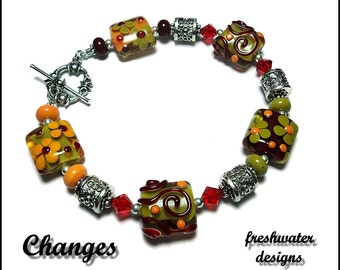 CHANGES Handmade Red Yellow and Green Lampwork Bracelet (035)