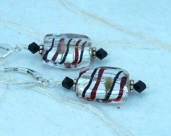Lampwork, Swarovski Crystal and Sterling Silver Earring E-99