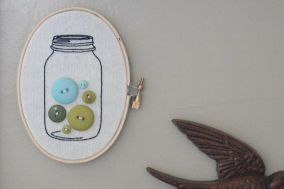 button jar wall hanging, blues.