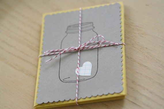 SALE - love in a jar notecard set.