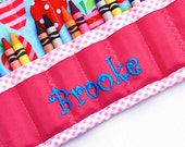 Personalized Pink and Aqua Strawberries Quilted Crayon Caddy Roll, Includes Crayolas, Gift Wrap and Gift Tag