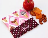 PERSONALIZED Reusable Snack  and Sandwich Carrier  in Ice-Cream Cone and Chocolate Polka Dot  Fabrics