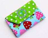 Monogrammed  Strawberries & Polkadots Portable Coloring Wallet with Notepad