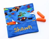PERSONALIZED Reusable Snack and Sandwich Carrier in Aquatics Fish Theme
