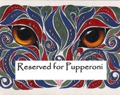 ACEO Original Cat Eyes Blue Red and Green