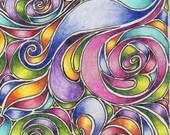 ACEO Original Rainbow Swirls