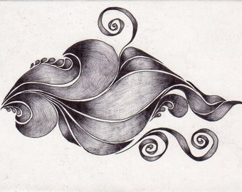 ACEO Reproduction Black and White Swirls and Ribbons