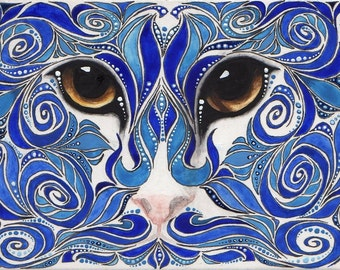 Reproduction ACEO Blue Swirl Cat Painting