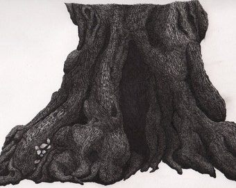 Reproduction Pen and Ink Tree Roots