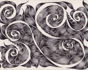 Original ACEO Negative Space Swirls in Black and White