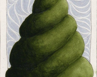 Original ACEO Topiary Spiral