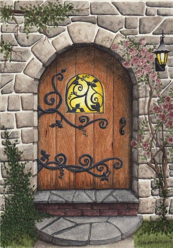 Original painting stone arched door for Door of stone