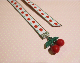 Juicy Red Cherry Bookmark, Cherry Decoration, Cute Gift, Christmas Gift, Gift for Schoolmate, Cute Gift for Girl, Gift for Book Lover