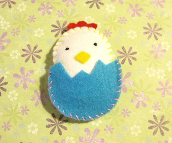 Happy Little Chick with Blue Egg Felt Magnet