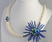 Blue Biwa Stick Pearl Flower Pendant on White Freshwater Pearl Necklace