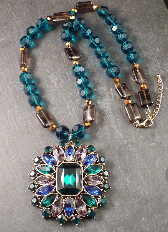 Emerald Green Teal Large Peacock Pendant Necklace with Smoky Quartz