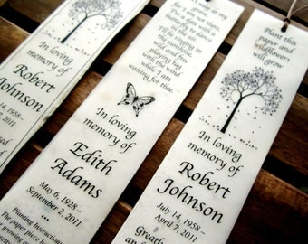 100 Plantable Seed Paper Bookmarks - Memorial Funeral Favors - Funeral Program - Custom Wording and Colors