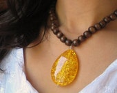 Bindhi - Amber and Brown Wood Bead Necklace