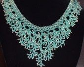 Coral Stitch Necklace - Teal Green