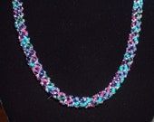 Russian Spiral Stitch Necklace - Jewel Tones and Silver