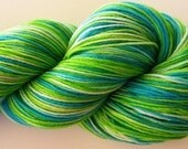 RESERVED FOR SHEBEAR 29 Hand Dyed Fingering Weight Yarn Natural Dye Brillant Green, Bright Blue Yarn - CABO SAN LUCAS