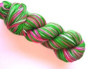 RESERVED PINKY23 Hand Dyed Fingering Weight Yarn Natural Dye Vibrant Kelly Green and Shocking Pink Yarn - WHAT A MELON