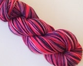 RESERVE PINKY23 Hand Dyed Fingering Weight Yarn Natural Dye Fushia and Purple - END OF SUMMER