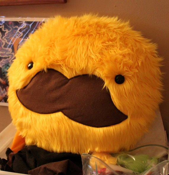 ON SALE- Yellow Mustache Pillow