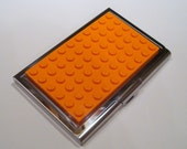 Stainless Steel Business Card Case Orange made with Lego (r) plate