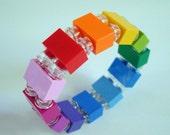 rainbow stretch bracelet made with Lego (r) bricks