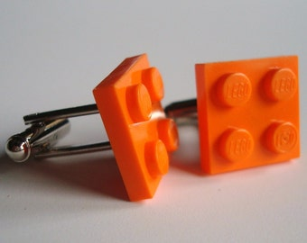 Cufflinks made with Orange LEGO® plates
