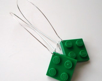 Elegant Drop Earrings with Green LEGO® plates