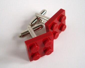Cufflinks made with Dark Red Lego (r) parts