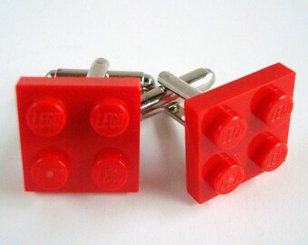 Cufflinks made with Red LEGO® bricks