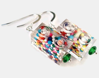 drop earrings with sterling silver Candy Filled LEGO (r) brick