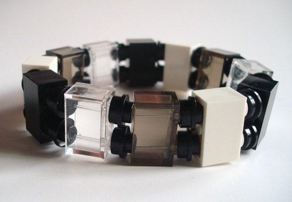 stretch bracelet made with Black & White Lego (r) parts