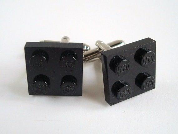 Cufflinks made with Basic Black LEGO® plates