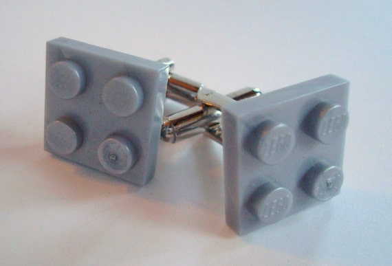 Cufflinks made with pearl grey Lego (r) parts